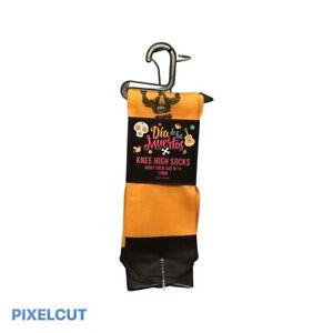 Halloween Dia de los Meurtos Orange Knee High Socks Spooky Skulls Size 9-11