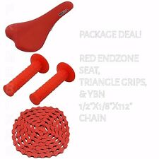 PACKAGE DEAL! BICYCLE SEAT GRIPS CHAIN RED - BIKES BMX ROAD MTB FIXIE CYCLING
