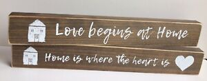 CHOICE Home is Where the Heart Is/Love Begins at Home Wood Stencil Signs Country