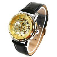 Winner - Herrenuhr - Selbstaufzug mechanische Uhr - Leder armbanduhr - golden V2