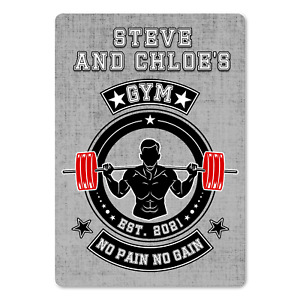 Personalised Home GYM Plaque. No Pain No Gain METAL Sign.  Den, Mancave, Garage