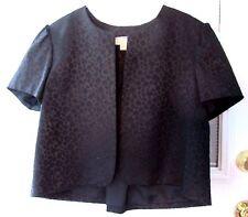 Michael Kors 10 Black Crop Swing Jacket Animal Print Blazer Dressy Short Sleeve