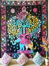 Elephant With Tree Design Cotton Duvet Cover Queen Size Handmade Indian Hippeee