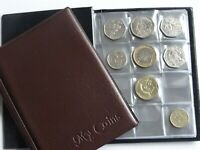 Coin Album Storage Book,Holder,Folder for 96 Coins 50p,£2,£1 Brown