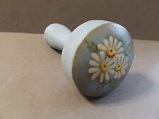 ANTIQUE PRIMATIVE WOODEN SOCK DARNER HANDPAINTED BLUE W/ DAISYS (D)