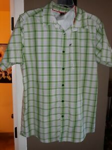 The North Face Men's L Green Plaid Short Sleeve Button Up Ventilated  Guide...