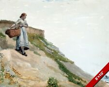YOUNG GIRL CARRYING A BASKET AT THE COAST BEACH PAINTING ART REAL CANVAS PRINT