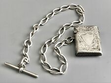 Victorian Sterling Silver Vesta Case / Match Safe and Pocket Watch Chain / Fob