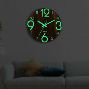 12 Inch Wooden Luminous Wall Clock Silent Dark Glowing Modern Hanging Home Decor