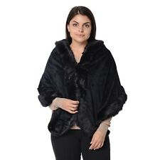 Black Faux Fur Stole Neck Head Scarf Polyester Acessories Shawl Wrap for Women
