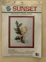 18306 HOLLY ANGEL No Count Cross Stitch Kit Sunset 1989 Dimensions Ruth Morehead