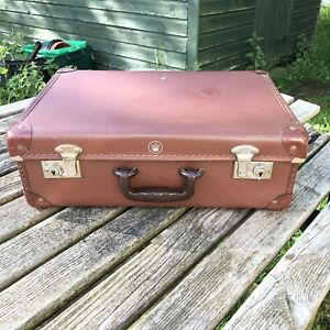 Vintage Small,Old Style Brown Suitcase.Dates 1950's - 1960's- Please See Details
