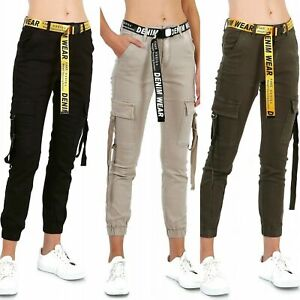 Women's Cargo Trousers mid waist Belted Cargo Jeans UK 6-14