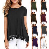 Women Irregular O-Neck Short Sleeve Loose Lace Patchwork Tops Tunic Blouse DZ
