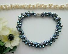 2 Row F.W.Pearl Beautiful Bib Necklace in Black Peacock or White.