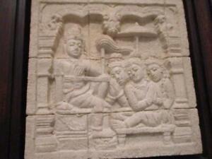9th Century Replica Plaque Java Buddhist Temple Borobudur Relief Sculpture VGC
