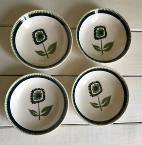 4 MCM Cavalier Ironstone Royal China USA Green Blue Flower Bowl CRAZED