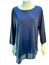 CHICO'S 3 EASYWEAR Size XL Womens Blue Assymetric Long Sleeve Tunic Blouse Top