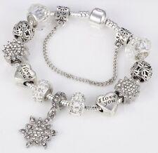 I Love You Heart Silver Snowflake Bracelet Charm Sliding Beads Crystal Gift BN