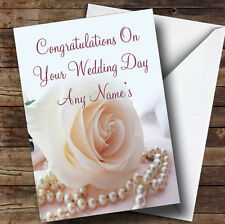 Beautiful Rose Pearls Personalised Wedding Day Greetings Card