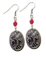 Real Metal Jewelry	Pewter Cameo Earrings