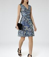*New* REISS Ice Blue Allium Floral Printed Dress  ~ Size UK 10