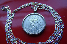 """Antique Netherlands Silver Lion Bezel Pendant on a 30"""" 925 Sterling Silver Chain"""