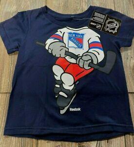 NWT Boys New York Rangers Cute Navy Blue Short Sleeve Hockey Player Shirt Sz 3T