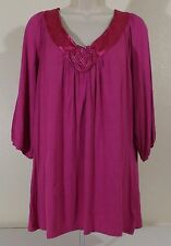 DIALOGUE Women's Plus Sz 1X Pink 3/4 Sleeve Chinese Knot V-Neck Top Blouse