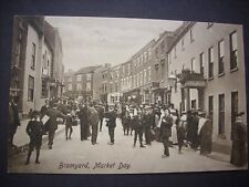 VERY OLD POSTCARD 1910 MARKET DAY, BROMYARD, HEREFORDSHIRE