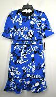 Maggy London Womens Blue Leaves Print Elbow Sleeves Crew Neck Sheath Dress