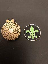 New FLEUR De LIS / LYS Black and Green Colour Magnetic GOLF HAT CLIP Ball Marker