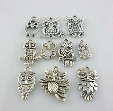 Mixed Lots of Antique Silver Owl Nighthawk Charms Pendants Bracelet Designs