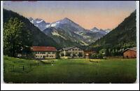 Oberstdorf Bayern alte color Postkarte 1931 gelaufen Partie auf der Birgsau