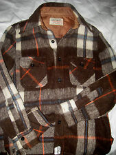 VINTAGE HUNTING PLAID  WOOL USA CPO SHIRT-ALL ANCHOR BUTTONS-LINED NAPE-MINT!- S