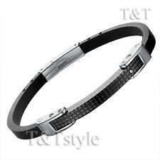 Top Quality T&T 316L Black Stainless Steel Narrow Bangle With CZ (BR75)