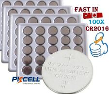 100X CR2016 DL2016 PKCELL 3v Lithium Battery Cell Button Coin Batterie CR 2016