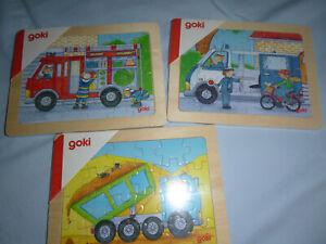 kleine Holz -Puzzle Fahrzeuge mit  24 teilen, Polizei, Feuerwehr und  Kipplaster
