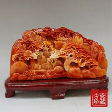 China  Old  Hand carving Shoushan Stone  Landscape Scenery statue
