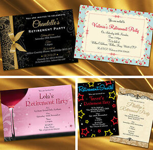 Personalised Retirement Party Invitations, Invites, Envelopes included.
