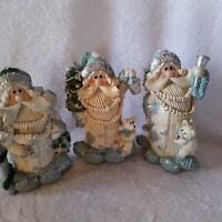Set of 3 White And Blue Patchwork Santa Figurines Statues Holiday Christmas