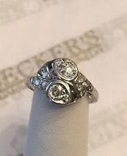 Deco Platinum Old Mine Cut & Round Diamond Milgrain Etched Ring .35 tw JKL-SI1,2