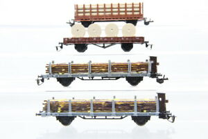 TT  4 Güterwagen Niederbordwagen Rungenwagen boxcar Konvolut /J21