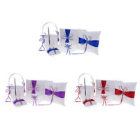 5pcs/Set Wedding Flower Girl Basket Ring Pillow Garter Guest Book Signature Pen