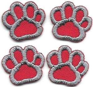 Demi Pouce Lot De 4 Gris Rouge Chien Animal Patte Imprimé Patch