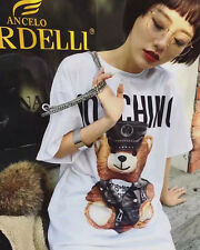 Women's Dress T Shirts MOS Top Short Sleeves Little Bear Printed White (Size L)