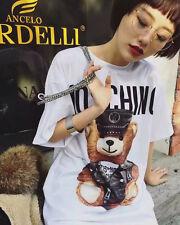 Women's Dress T Shirts MOS Short Sleeves Little Bear Printed White (Size M)