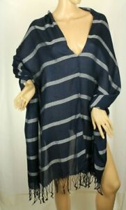 Curations Women's Cape Blue Striped Fringe Shawl One Size