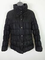 WOMENS M&S BLACK ZIP/BUTTON UP PADDED CASUAL WINTER PUFFER COAT JACKET M MEDIUM