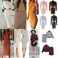 2PCS Womens Knitted Long Sleeve Sweater Top Mini Skirt Suit Party Jumper Dress~~